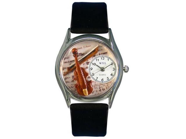 Whimsical Watches S0510002 Violin Black Leather And Silvertone Watch
