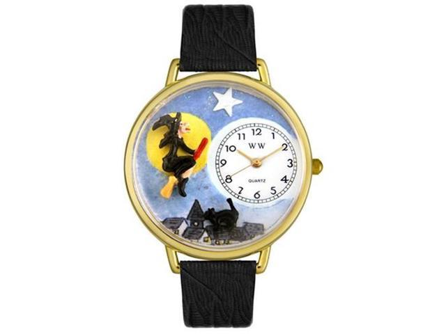Whimsical Watches G1220001 Halloween Flying Witch Black Skin Leather And Goldtone Watch