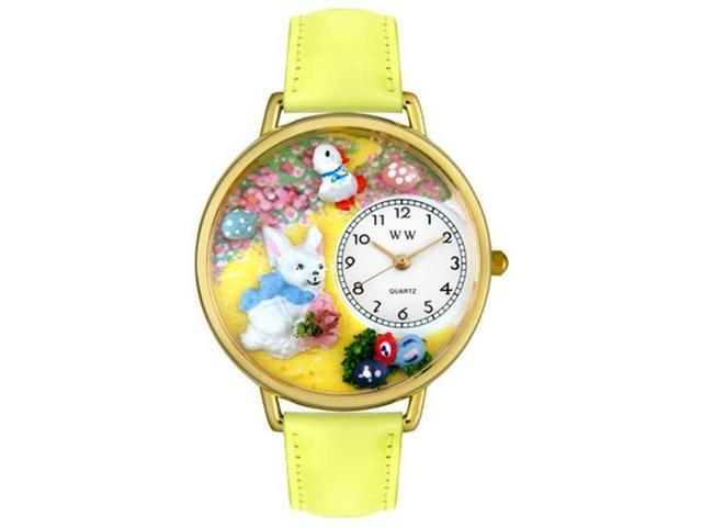 Whimsical Watches G1220015 Easter Bunny Yellow Leather And Goldtone Watch