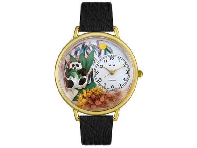Whimsical Watches G0150017 Panda Bear Black Skin Leather And Goldtone Watch