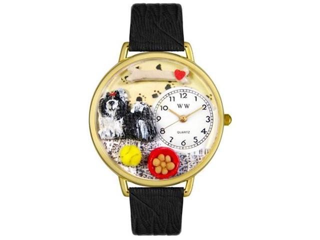 Whimsical Watches G0130069 Shih-Tzu Black Skin Leather And Goldtone Watch