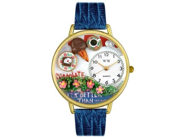 Whimsical Watches G0310007 Chocolate Lover Royal Blue Leather And Goldtone Watch