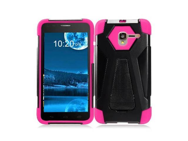 Zizo Hybrid Turbo Cover For Alcatel TRU Heavy Duty Dual Layer Rugged Shell Phone Protective Case w/ Kickstand