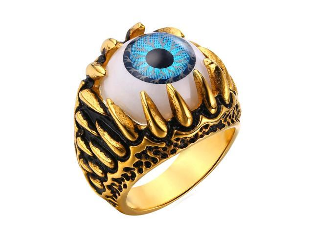 U7 Evil Eye Rings Biker Band Rings Signet Ring Stainless Steel/Yellow Gold Plated Cool Biker Rings Fashion Jewelry for Men or Women
