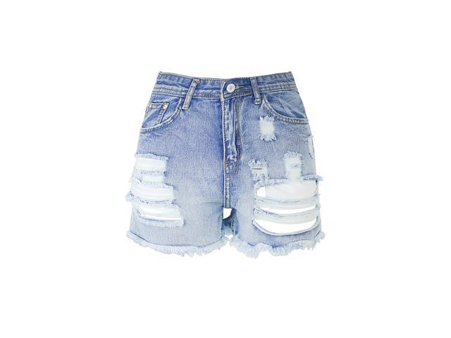 Burvogue Womne's High Waist Summer Casual Jeans Ripped Denim Shorts