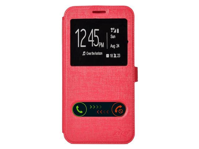 For Samsung Galaxy S7 - Flip Window Phone Case w/ TPU Inside - Hot Pink