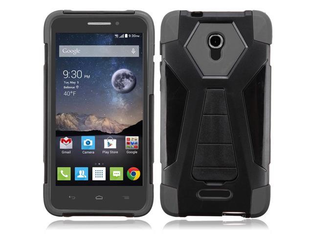 Zizo Hybrid Turbo Cover For Alcatel Fierce 4 Heavy Duty Dual Layer Rugged Shell Phone Protective Case w/ Kickstand - Lightweight SlimFit Protector