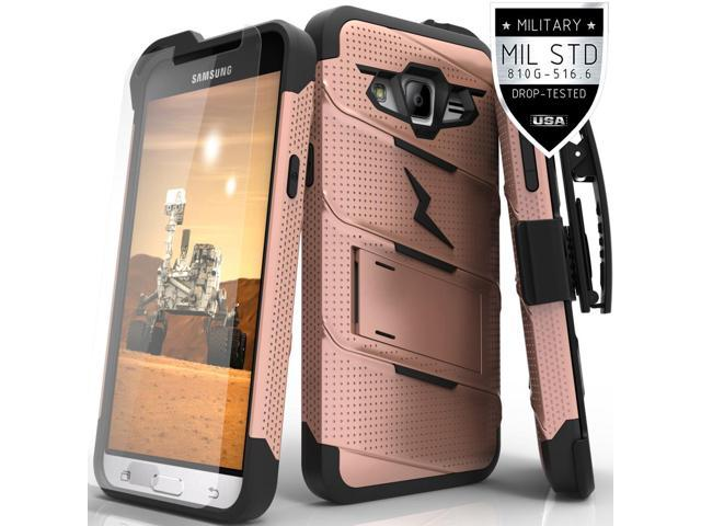 Samsung Galaxy J3 Case, Zizo [Bolt Series] with FREE [Galaxy J3 Screen Protector] Kickstand [Military Grade Drop Tested] Holster Belt Clip - Galaxy J3
