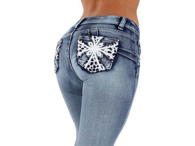Style SF35057S – Colombian Design, Butt Lift, Levanta Cola, Skinny Jeans in Washed Blue