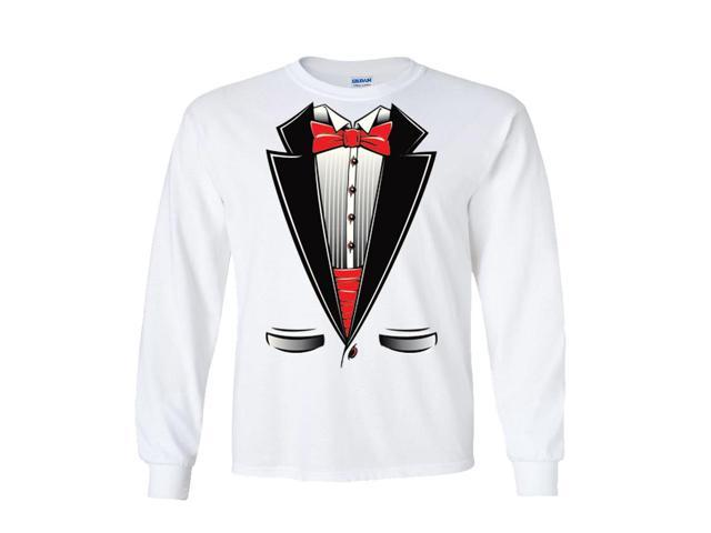Red Bow Tie Tuxedo Long Sleeve T-Shirt
