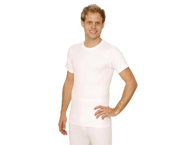 OCTAVE® Mens Thermal Underwear Short Sleeve T-Shirt / Vest / Top (Ex-Ex-Large, White)