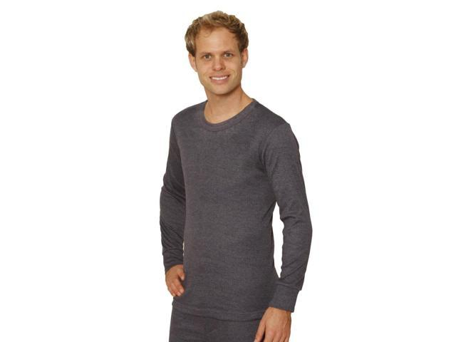 OCTAVE® Mens Thermal Underwear Long Sleeve T-Shirt / Vest / Top (Large, Charcoal)
