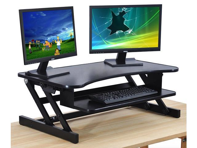 standing desk the deskriser height adjustable sit stand up dual monitor office computer desk. Black Bedroom Furniture Sets. Home Design Ideas
