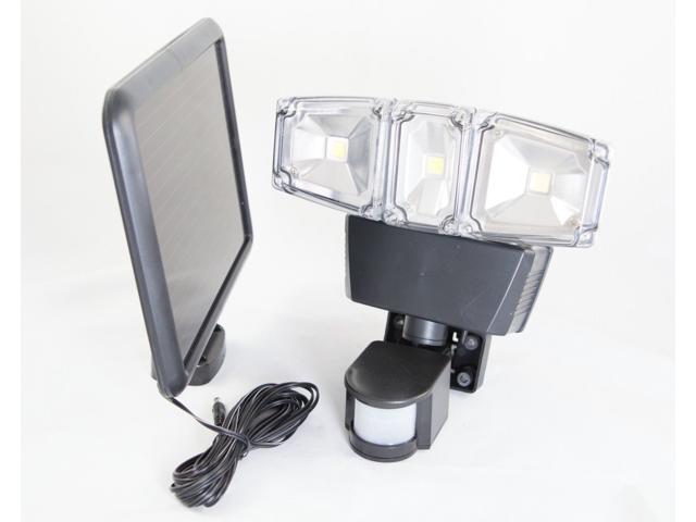 ultra bright cob led triple head solar power motion sensor security light white with