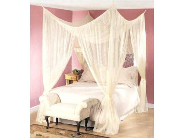 DREAMMA 4 POST BED CANOPY FOUR CORNER MOSQUITO BUG NET QUEEN KING SIZE INSECT CANAPY BEDROOM CURTAIN ...  sc 1 st  Newegg.com & 4 POST BED CANOPY FOUR CORNER MOSQUITO BUG NET QUEEN KING SIZE ...