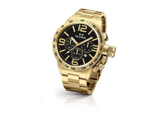 Roll over image to zoom in      TW Steel CB94 Men's Stainless Steel Canteen Gold Bracelet Black Dial Watch
