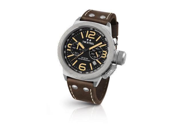 TW Steel CS34 Men's Date Canteen Brown Leather Band Balck Dial Watch