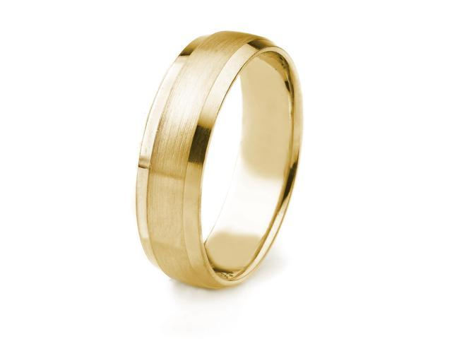18k Gold Men's Wedding Band with Satin Finish and Polished Beveled Edges (6mm)