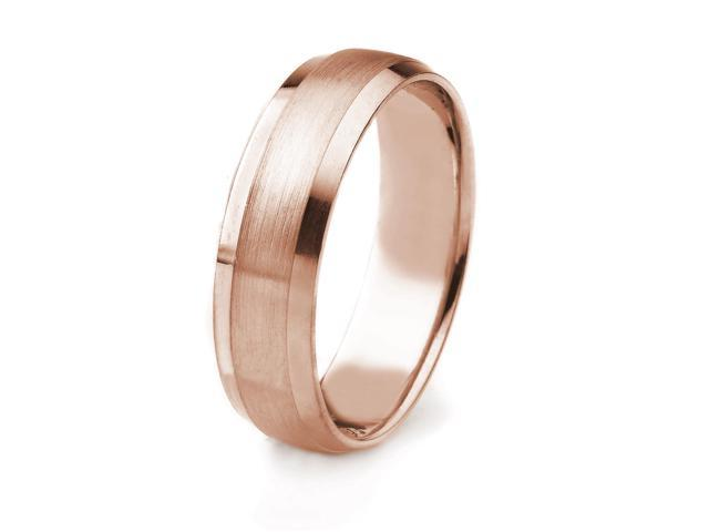 14k Gold Men's Wedding Band with Satin Finish and Polished Beveled Edges (6mm)