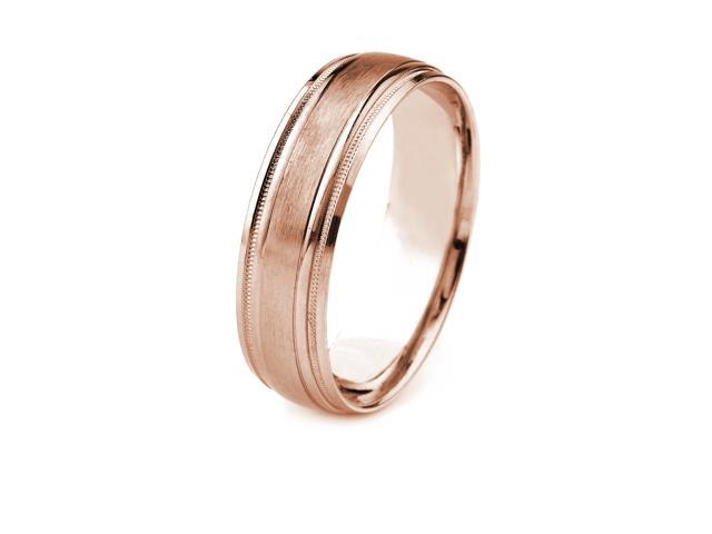 14k Gold Men's Wedding Band with Satin Finish Center and Carved Milgrain Edges (6mm)