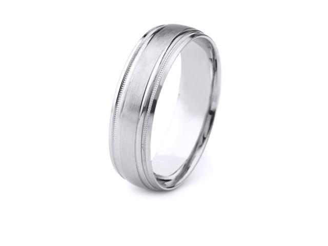 Platinum Men's Wedding Band with Satin Finish Center and Carved Milgrain Edges (6mm)