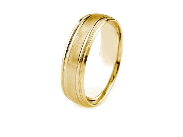 18k Gold Men's Wedding Band with Satin Finish Center and Carved Milgrain Edges (8mm)
