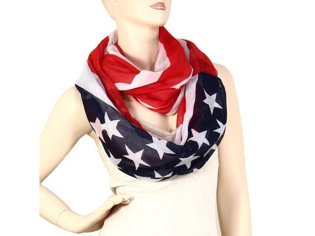 USA American Flag Infinity Scarf Lightweight Navy Red White
