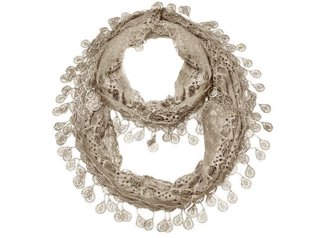 Falari Women Loop Infinity Lace Scarf With Fringes Beige