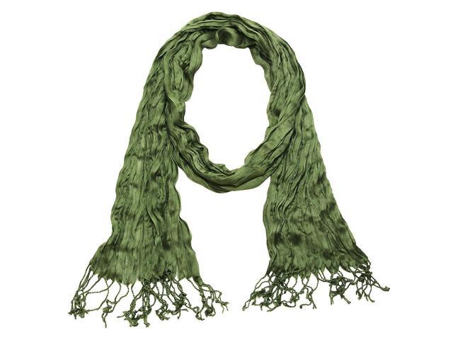 Falari All Seasons Soft Crinkle Scarf Solid Color Olive