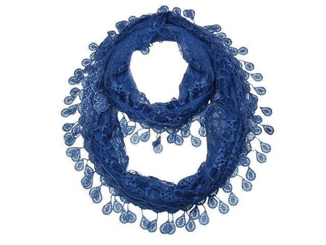 Falari Women Loop Infinity Lace Scarf With Fringes Blue