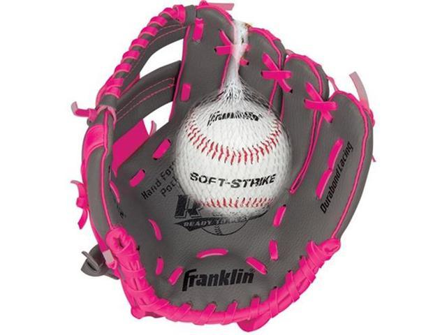 Franklin Sports 22703L 9.5 in. RTP Teeball Performance Gloves and Ball Combo, Graphite & Pink - Left Handed Thrower