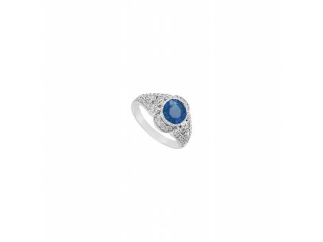 Fine Jewelry Vault UBUK433W14DS Diffuse Sapphire & Diamond Engagement Ring in 14K White Gold - 1.25 CT TGW , 50 Stones