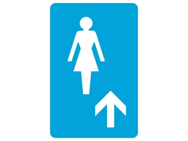 Aluminum Metal Ladies Room Up Ahead Arrow Pictue Large 12 x 18 Blue White Bathroom Restroom Business Office Sign