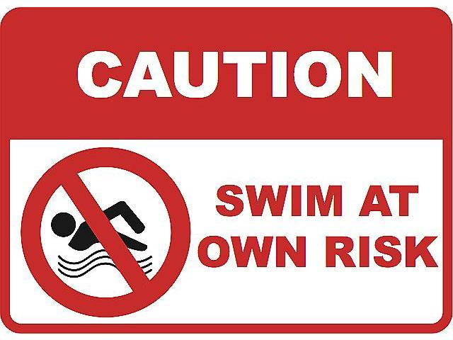 2 Pack Caution Swim at Own Risk Large Sign 12 x 18 Inches - Swimming Pool Signs