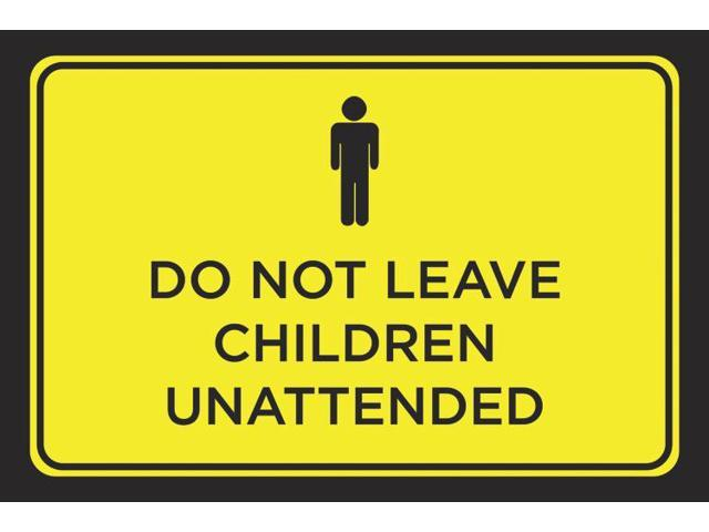 Do Not Leave Children Unattended Yellow Black Bright Business Store Print Horizontal Poster Outdoor Notice Sign Large