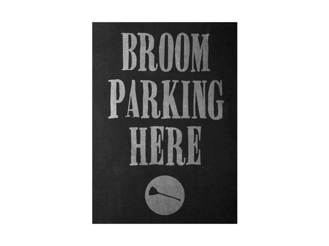 Broom Parking Here Print Broomstick Picture Large 12 x 18 Fun Scary Humor Halloween Seasonal Decoration Sign - 2 Pack