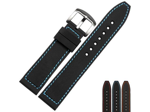 BUREI Mens Soft Silicone Watchband Of Stainless Steel Buckle 20mm/22mm Band