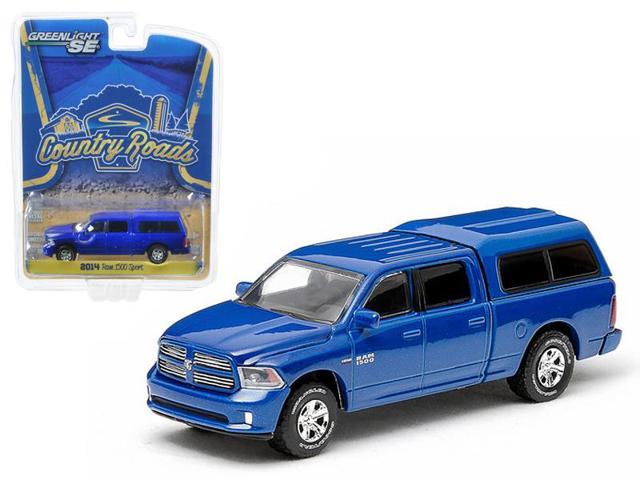2014 Dodge Ram 1500 Blue with Camper Shell 1/64 Diecast Model Car by Greenlight