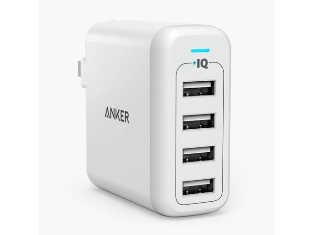 Anker 40W 4-Port USB Wall Charger PowerPort 4, Multi-Port USB Charger with Foldable Plug for iPhone SE / 6s / 6 / 6 Plus, iPad Air 2 / Pro, Samsung Galaxy S7 / S6, Note 5, LG G5 and More