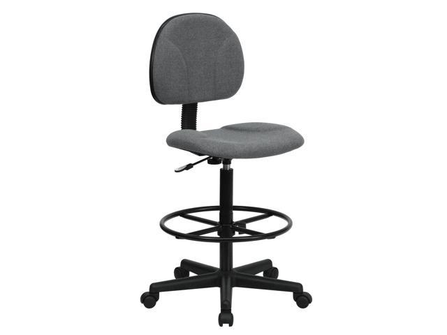 Flash Furniture Gray Fabric Multi-Functional Ergonomic Drafting Stool (Adjustable Range 26''-30.5''H or 22.5''-27''H) [BT-659-GRY-GG]