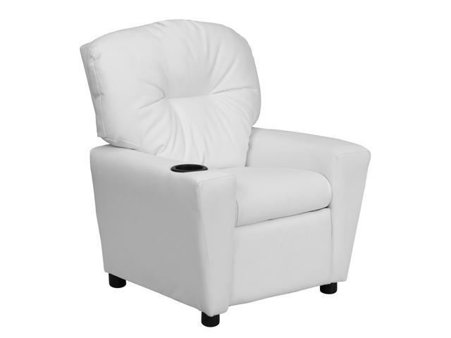 Flash Furniture Contemporary White Vinyl Kids Recliner with Cup Holder [BT-7950-KID-WHITE-GG]