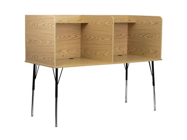 Flash Furniture Double Wide Study Carrel with Adjustable Legs and Top Shelf in Oak Finish [MT-M6222-OAK-DBL-GG]