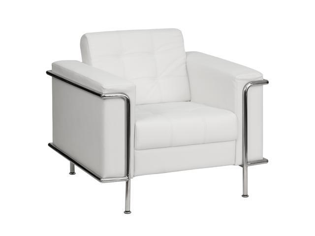 Lesley Series White Leather Love Seat with Encasing Frame by Flash Furniture