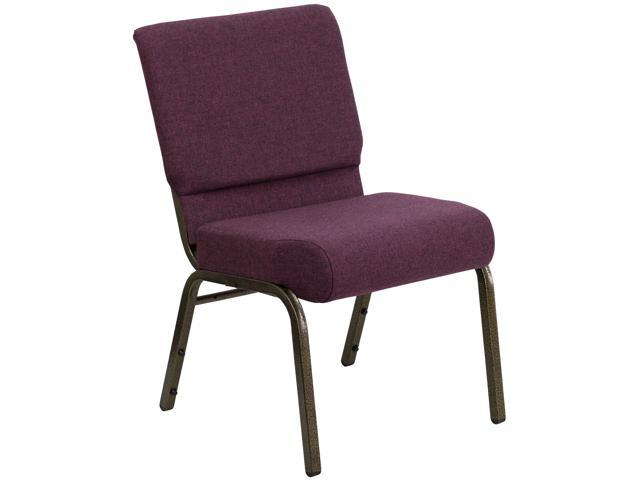Flash Furniture HERCULES Series 21'' Extra Wide Plum Stacking Church Chair with 4'' Thick Seat - Gold Vein Frame [FD-CH0221-4-GV-005-GG]