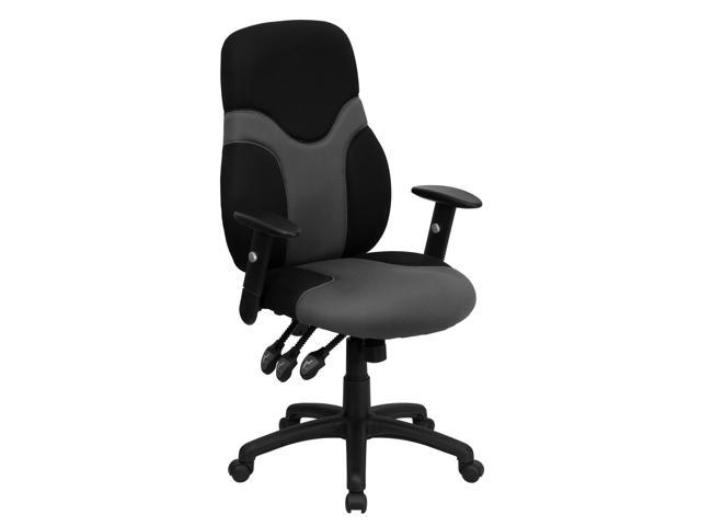 Flash Furniture High Back Ergonomic Black and Gray Mesh Task Chair with Adjustable Arms [BT-6001-GYBK-GG]
