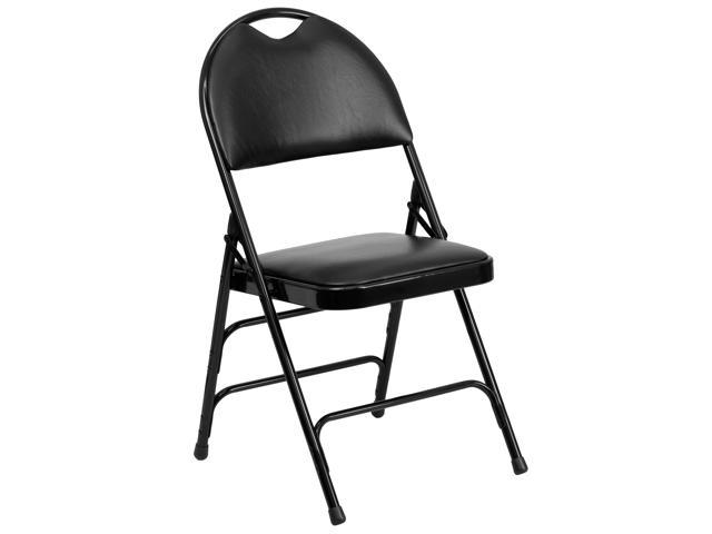 Flash Furniture HERCULES Series Extra Large Ultra-Premium Triple Braced Black Vinyl Metal Folding Chair with Easy-Carry Handle