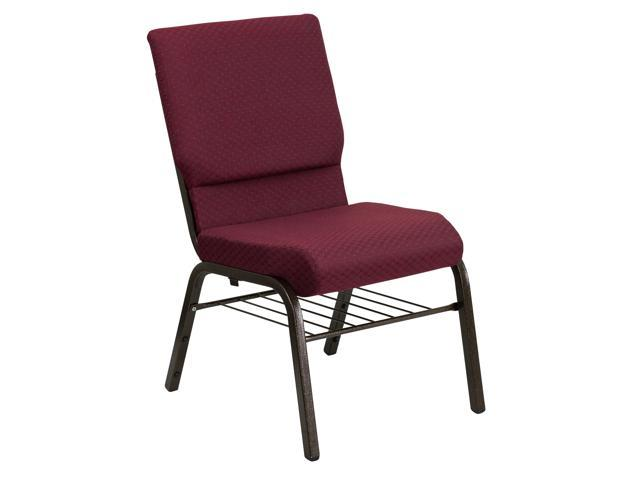 Flash Furniture HERCULES Series 18.5'' Wide Burgundy Patterned Church Chair with 4.25'' Thick Seat Book Rack - Gold Vein Frame [XU-CH-60096-BYXY56-BAS-GG]