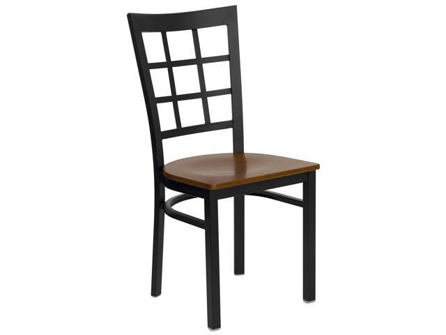 Flash Furniture HERCULES Series Black Window Back Metal Restaurant Chair with Cherry Wood Seat [XU-DG6Q3BWIN-CHYW-GG]