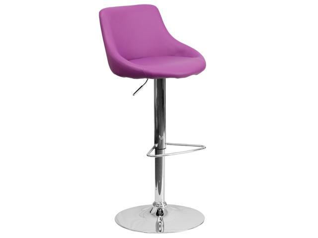 Contemporary Purple Vinyl Bucket Seat Adjustable Height Barstool with Chrome Base