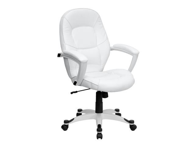 Flash Furniture Mid-Back White Leather Executive Office Chair [QD-5058M-WHITE-GG]